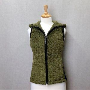 ATHLETA Green & Black Dual Zip Hooded Fleece Vest
